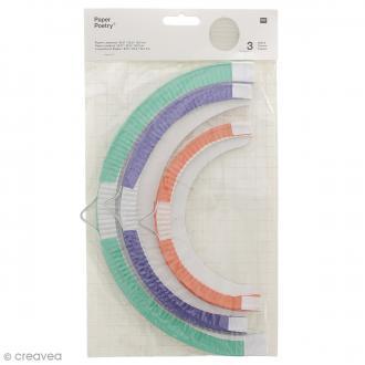 Lampions en papier - Multicolore - 3 tailles - 3 pcs