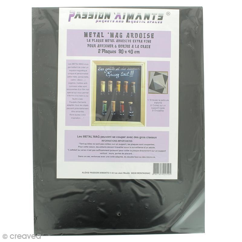 Plaque ardoise magn tique adh sive 30 x 40 cm 2 pcs for Tableau ardoise magnetique