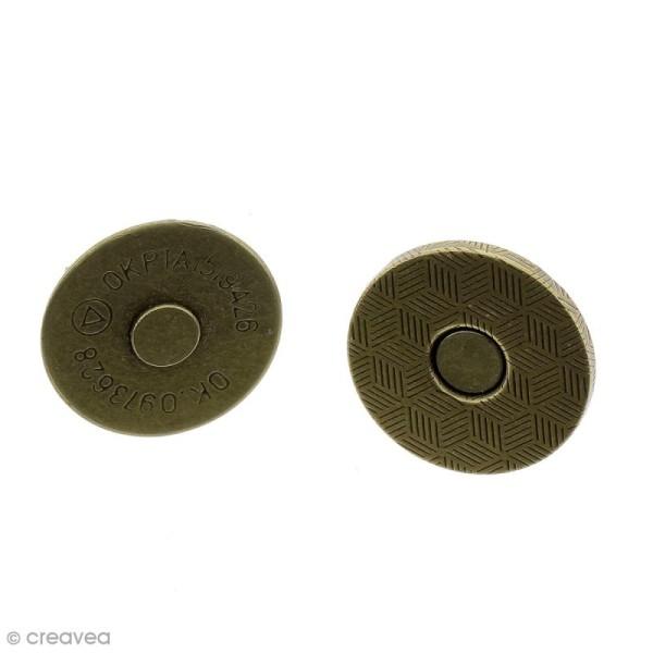 Fermeture magnétique à griffes - Ronde - Bronze - 18 x 2 mm - 5 pcs - Photo n°1