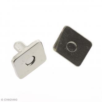 Fermeture magnétique à griffes - Carrée - Argentée - 14 x 2 mm - 5 pcs