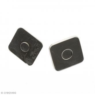 Fermeture magnétique à griffes - Carrée - Argentée - 18 x 2 mm - 5 pcs