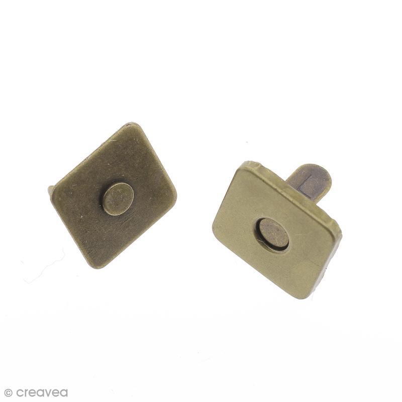 Fermeture magnétique à griffes - Carrée - Bronze - 14 x 2 mm - 5 pcs - Photo n°1