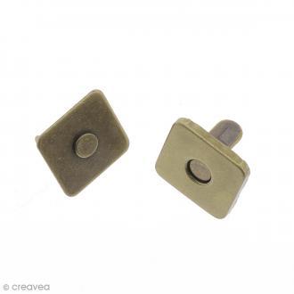 Fermeture magnétique à griffes - Carrée - Bronze - 14 x 2 mm - 5 pcs