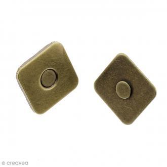 Fermeture magnétique à griffes - Carrée - Bronze - 18 x 2 mm - 5 pcs