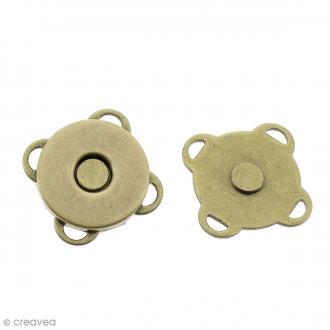 Fermeture magnétique à coudre - Ronde - Bronze - 14 mm - 2 pcs