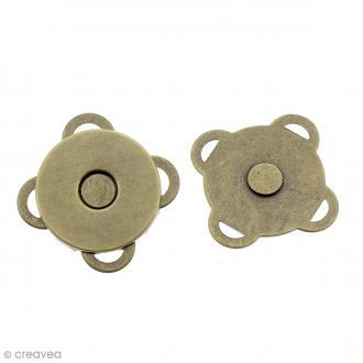 Fermeture magnétique à coudre - Ronde - Bronze - 18 mm - 2 pcs