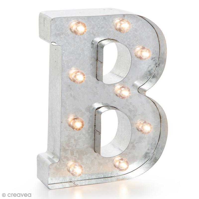lettre lumineuse en m tal vintage b 25 x 19 x 4 5 cm lettre lumineuse led creavea. Black Bedroom Furniture Sets. Home Design Ideas