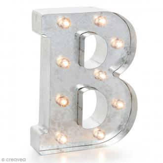 Lettre lumineuse en métal vintage B - 25 x 19 x 4,5 cm