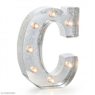 Lettre lumineuse en métal vintage C - 25 x 18,5 x 4,5 cm