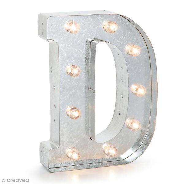 Lettre lumineuse en métal vintage D - 25 x 18,5 x 4,5 cm - Photo n°1