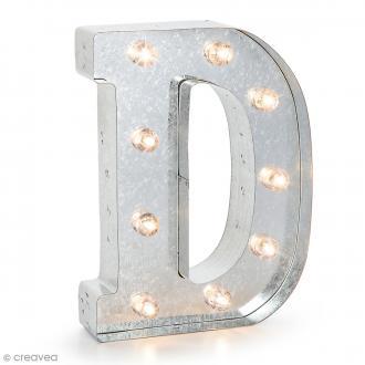 Lettre lumineuse en métal vintage D - 25 x 18,5 x 4,5 cm