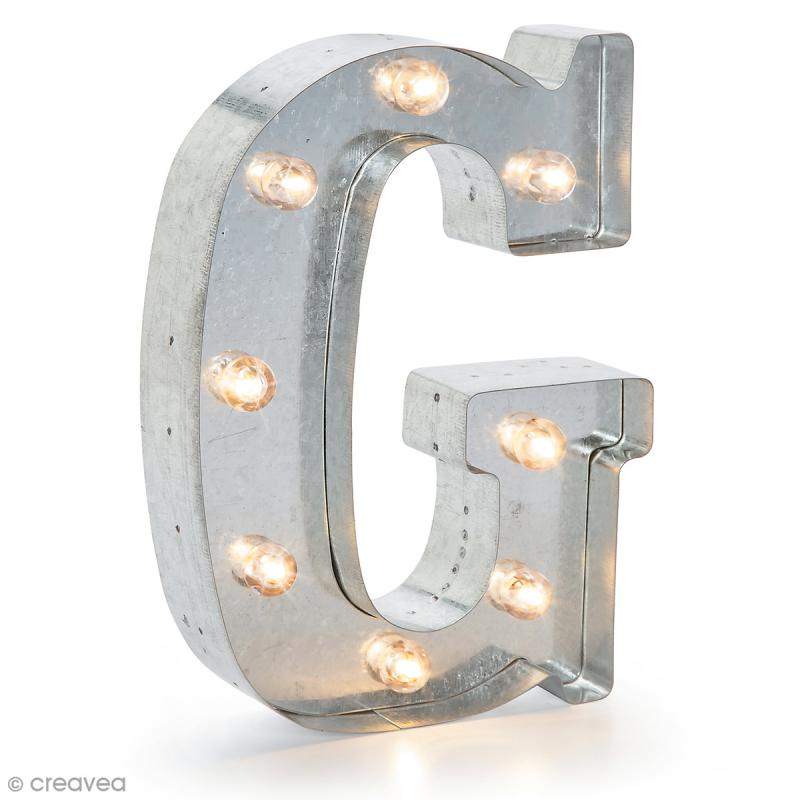 lettre lumineuse en m tal vintage g 25 x 19 x 4 5 cm lettre lumineuse led creavea. Black Bedroom Furniture Sets. Home Design Ideas
