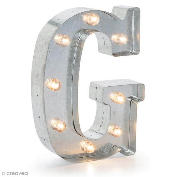 Lettre lumineuse en métal vintage G - 25 x 19 x 4,5 cm - Photo n°1