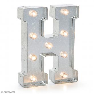 Lettre lumineuse en métal vintage H - 25 x 18,5 x 4,5 cm