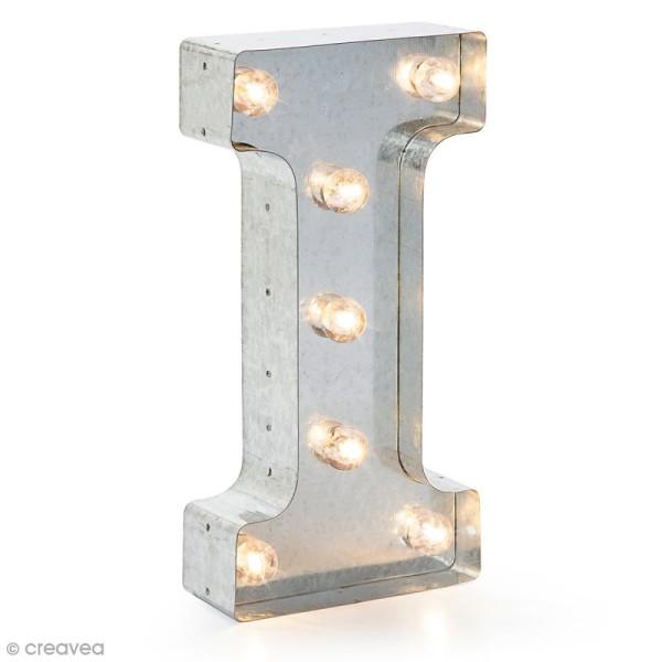 Lettre lumineuse en métal vintage I - 25 x 12,5 x 4,5 cm - Photo n°1