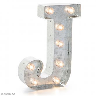 Lettre lumineuse en métal vintage J - 25 x 18 x 4,5 cm