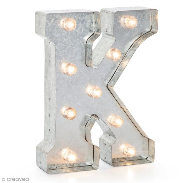Lettre lumineuse en métal vintage K - 25 x 19 x 4,5 cm - Photo n°1