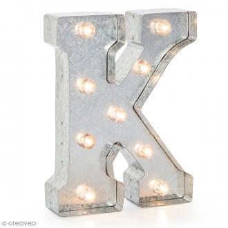 Lettre lumineuse en métal vintage K - 25 x 19 x 4,5 cm