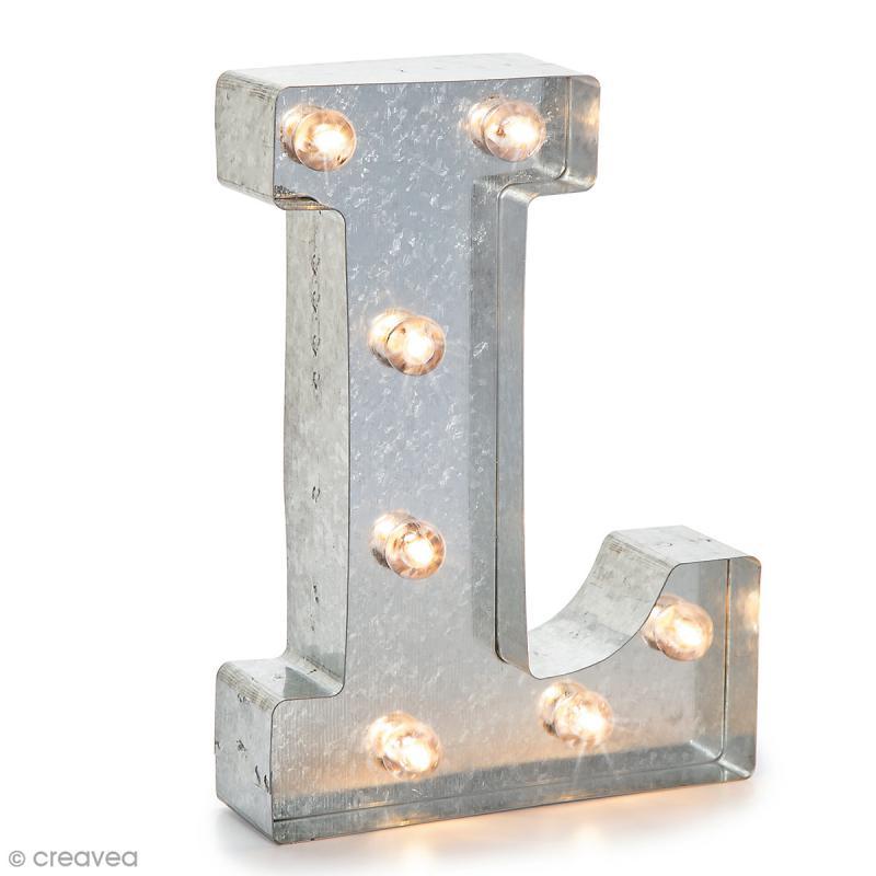Lettre lumineuse en métal vintage L - 25 x 18 x 4,5 cm - Photo n°1