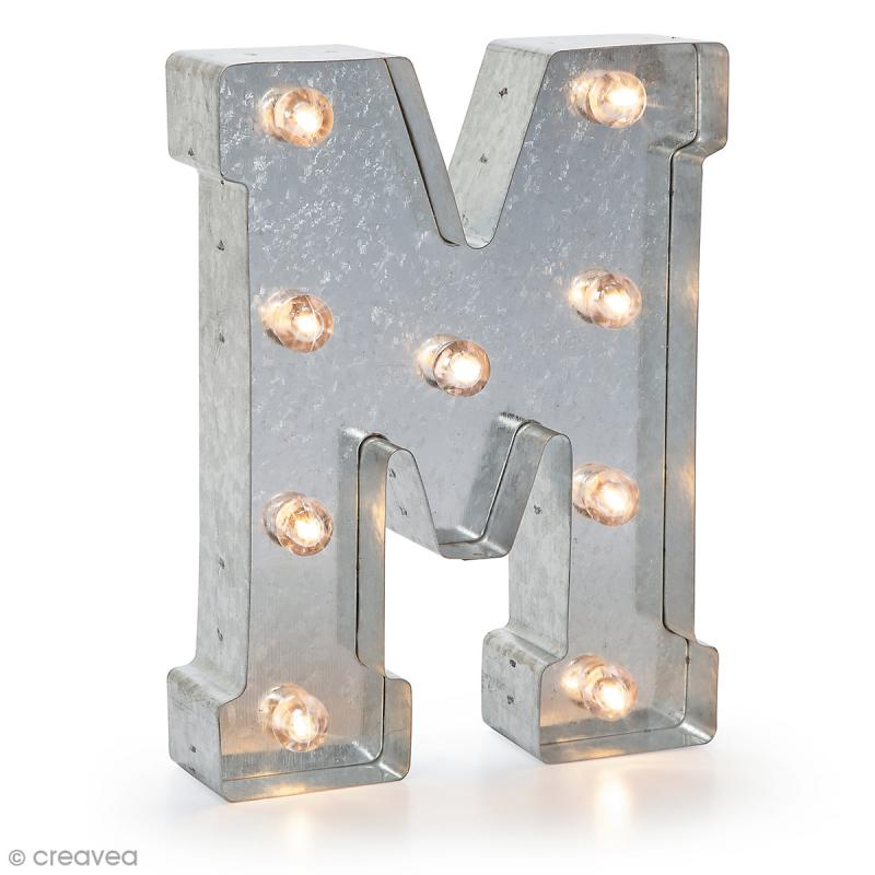 lettre lumineuse en m u00e9tal vintage m - 25 x 18 5 x 4 5 cm - lettre lumineuse led