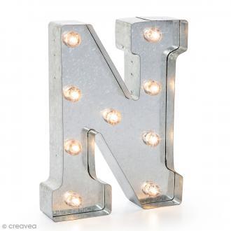 Lettre lumineuse en métal vintage N - 25 x 18,5 x 4,5 cm