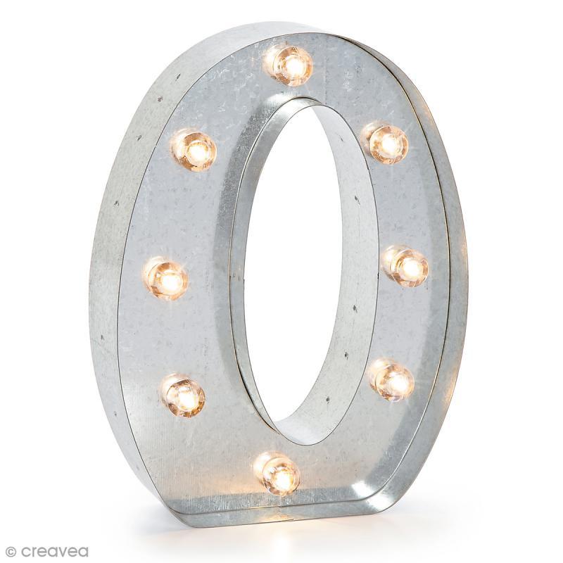 Lettre lumineuse en métal vintage O - 25 x 19 x 4,5 cm - Photo n°1