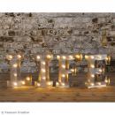 Lettre lumineuse en métal vintage O - 25 x 19 x 4,5 cm - Photo n°2