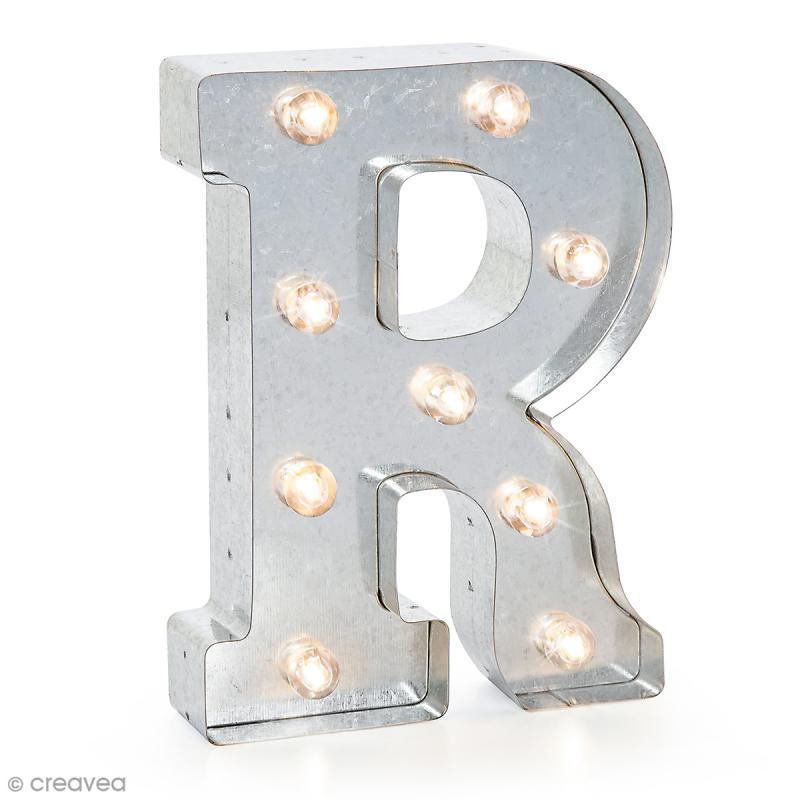 Lettre lumineuse en métal vintage R - 25 x 18,5 x 4,5 cm - Photo n°1