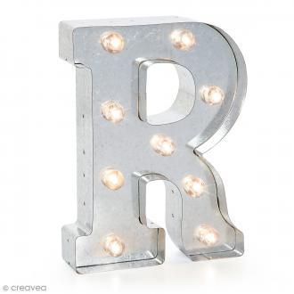 Lettre lumineuse en métal vintage R - 25 x 18,5 x 4,5 cm