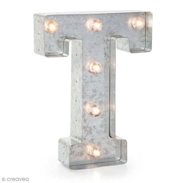 Lettre lumineuse en métal vintage T - 25 x 19 x 4,5 cm - Photo n°1