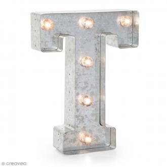 Lettre lumineuse en métal vintage T - 25 x 19 x 4,5 cm