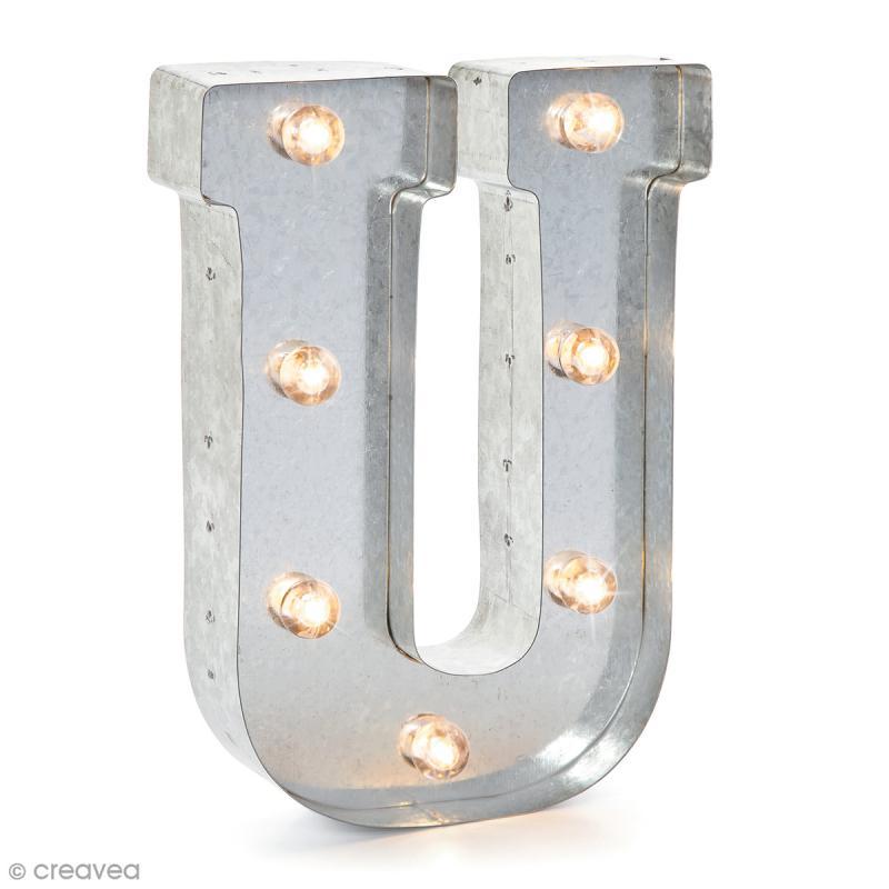 lettre lumineuse en m tal vintage u 25 cm lettre lumineuse led creavea. Black Bedroom Furniture Sets. Home Design Ideas