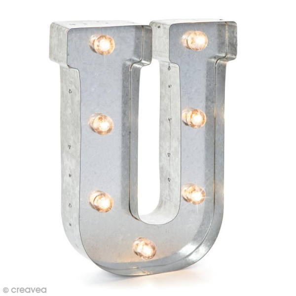 Lettre lumineuse en métal vintage U - 25 cm - Photo n°1
