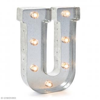 Lettre lumineuse en métal vintage U - 25 cm
