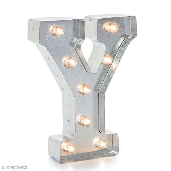 Lettre lumineuse en métal vintage Y - 25 x 19 x 4,5 cm - Photo n°1