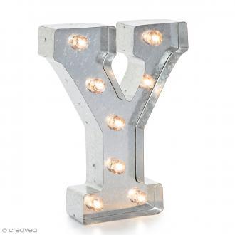 Lettre lumineuse en métal vintage Y - 25 x 19 x 4,5 cm