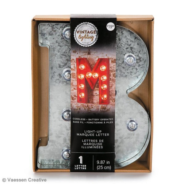 Lettre lumineuse en métal vintage W - 25 x 19 x 4,5 cm - Photo n°4