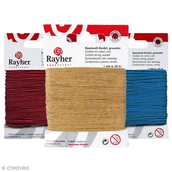 Cordon coton ciré - 1 mm x 20 m - 17 couleurs - Photo n°1