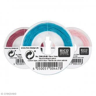 Fil de coton ciré - 1 mm x 5 m - 16 couleurs