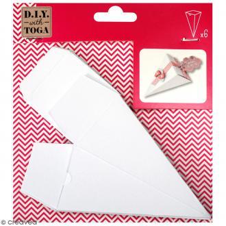 Cornets à dragées Blanc à monter et personnaliser - 5 x 11 cm - 6 pcs