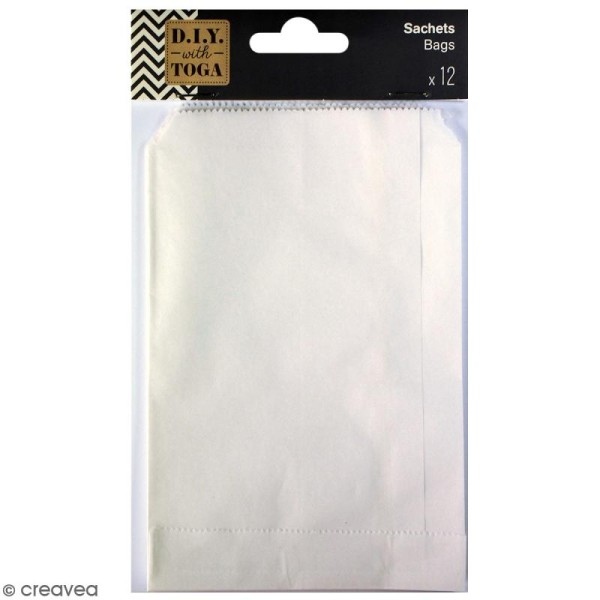 Lot de sachets 10 x 15 cm en papier - Blanc - 12 pcs - Photo n°1