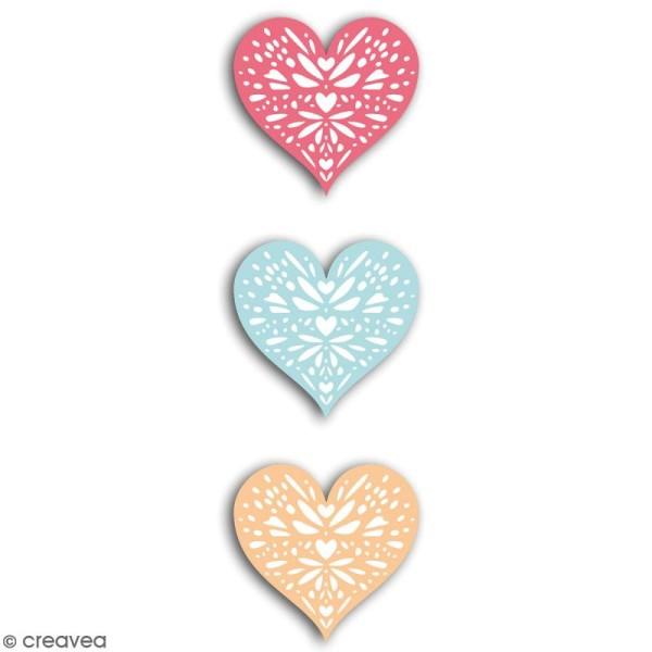 Die cuts Coeurs rouges, orange et bleus - 43 x 42 mm - 24 pcs - Photo n°3