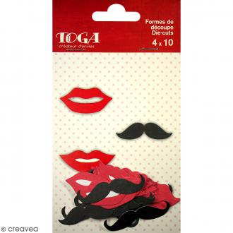Die cuts Moustaches et baisers - 35 x 40 mm environ - 40 pcs