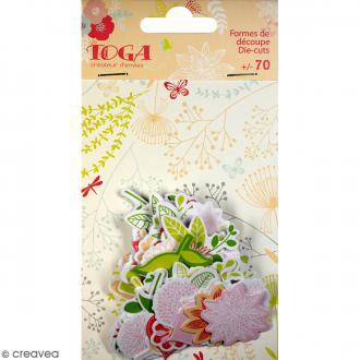 Die cuts Nature rose et vert - De 3 à 5 cm - 70 pcs