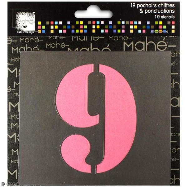 Pochoirs chiffres et ponctuation - 9 cm - 19 pcs - Photo n°1
