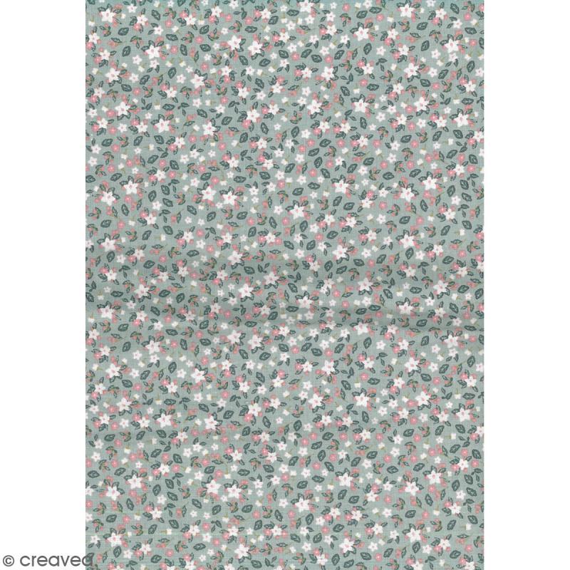 Daily like vert et rose fleurs et feuillage tissu - Attache cadre autocollant ...
