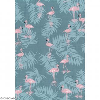 Daily like Vert et rose - Flamant rose - Tissu autocollant A4