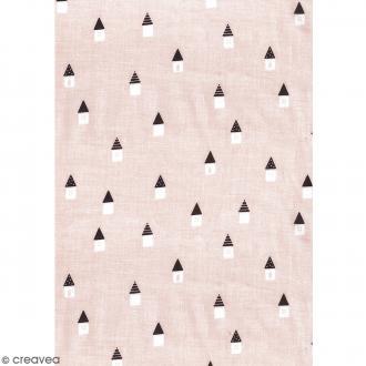 Daily like Rose blush et noir - Maisonnettes scandinaves - Tissu autocollant A4