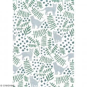 Daily like Vert et gris - Chat dans le jardin - Tissu autocollant A4