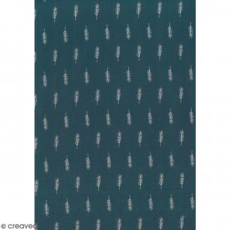Daily like Bleu vert - Epis de blé - Tissu autocollant A4